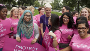 Cecile Richards greets participants at the Rally for Women's Health on Capitol Hill in Washington D.C. on July 11, 2013.