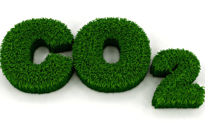 C02 made from green grass, illustration.