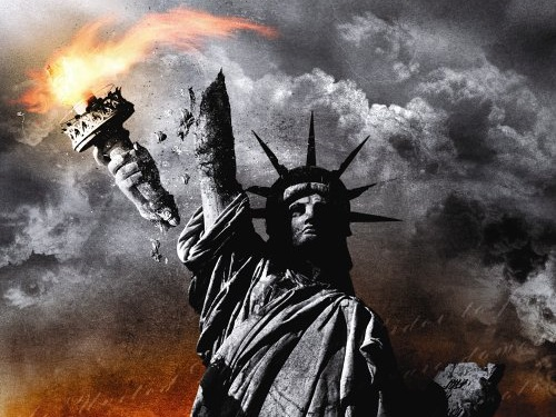 statue of liberty in flames